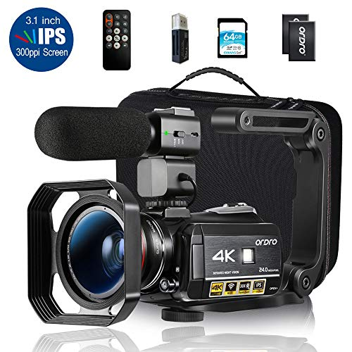 Ordro AC3 4K Camcorder HD Digital Video Camera 1080P 60FPS Infrared Night Vision 3.1' IPS Screen with Microphone, Wide Angle Lens, Lens Hood, 64GB SD Card, Handle,2 Batteries,Carrying Case