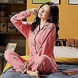 Primavera otoño Pijama de algodón Estampado para Mujer de Talla Grande 6XL 7XL de Dos Piezas Breve Ropa de casa de Manga Larga Ropa de Dormir femenina-4XL_82.5-90KG