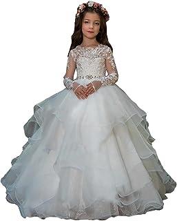 فساتين hengyud ذات أكمام طويلة للفتيات المزينة بالزهور والأميرة الأورجانزا فساتين حفلات المناولة الأولى 7-16 أبيض