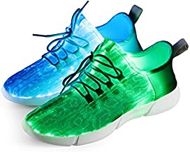 Shinmax Fiber Optic Led Shoes, Light Up Shoes for Women Men USB Charging Flashing Luminous Trainers for Festivals, Christmas Halloween Party White