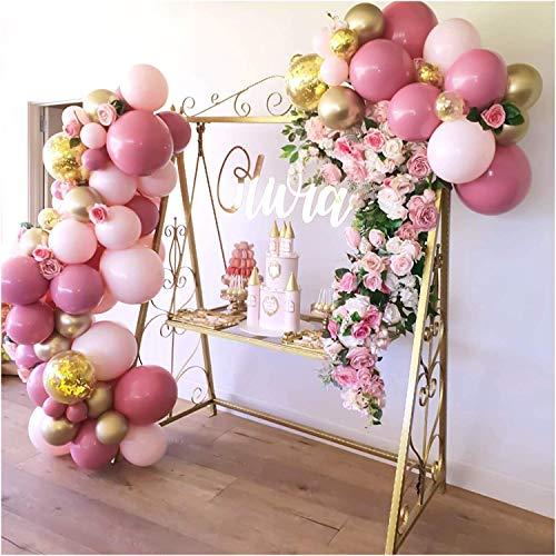 Globo de Papel de Aluminio Pink Globo Flor Guirnalda Arco Kit Rosa Oro Confeti Globos para Fiestas Cumpleaños Boda Fiesta Globos decoración (Color : 98 pcs Set)