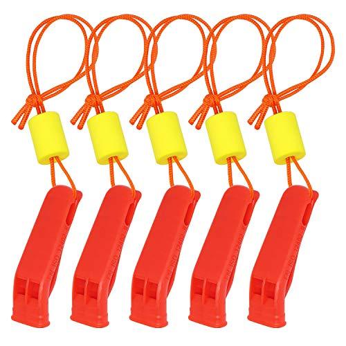 samsfx 5piezas Seguridad Marina silbato con cordón flotante para pesca canotaje camping senderismo Caza señalización de emergencia supervivencia rescate