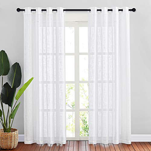 NICETOWN White Sheer Linen Curtains for Windows 84 inch Length, Grommet Top Semi Sheer Vertical Drapes Privacy with Light Filter for Bedroom / Living Room / Sliding Door, 52 inch Wide, 2 PCs