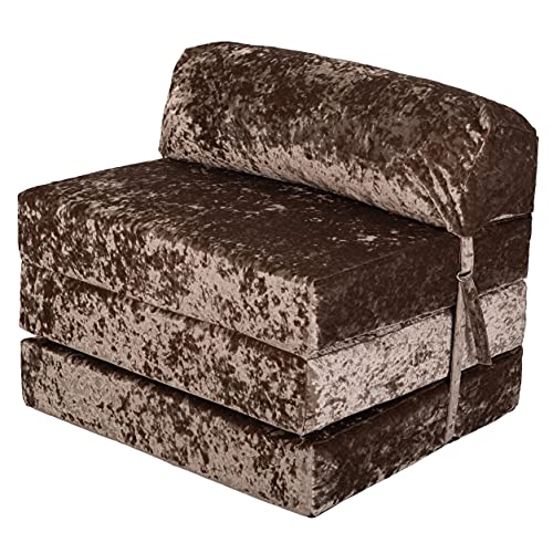 Loft 25 Adult Sofa Futon Z Bed | Crushed Velvet Luxurious Material | Single Fold Out Mattress Chairbed | Ergonomically Designed Zbed (Brown, Crushed Velvet)