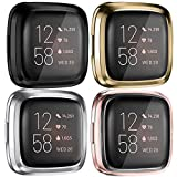 Tobfit 4 Pack Screen Protector Case Compatible with Fitbit Versa 2, Soft TPU Ultra-Thin Scratch Resistant Full Protective Case Cover (Clear/Black/Gold/Silver)