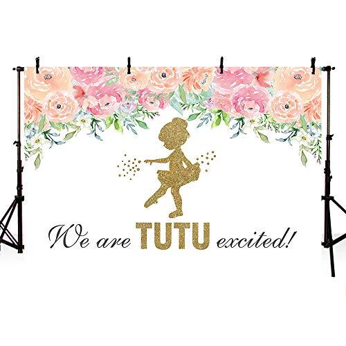 MEHOFOTO Tutu Opgewonden Ballerina Meisje Baby Douche Feest Achtergrond Roze Bloemengouden Glitter Ballet Verjaardag Fotografie Achtergrond Photo Banner voor Taart Tafel benodigdheden 7x5ft