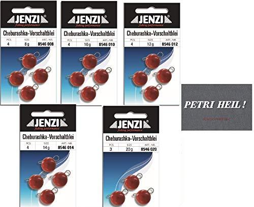 .Jenzi Cheburashka Set rot, 5 Packungen 8,10,12,14 und 20 Gramm+ gratis Petri Heil! Aufkleber