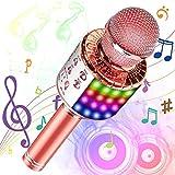 Phiraggit Micrófono Karaoke Bluetooth, Microfono Inalámbrico Karaoke Portátil con Altavoz y LED para Niños Canta Partido Musica, Compatible con Android/iOS PC, AUX o Teléfono Inteligente (Oro rosa)