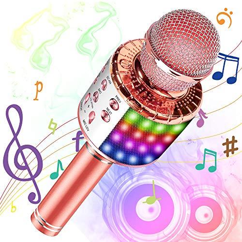 Phiraggit Microfono Karaoke Bluetooth con LED, Karaoke portatile con altoparlante per bambini, Macchina per karaoke portatile per regali di casa KTV, compatibile per Android e iOS (Oro rosa)