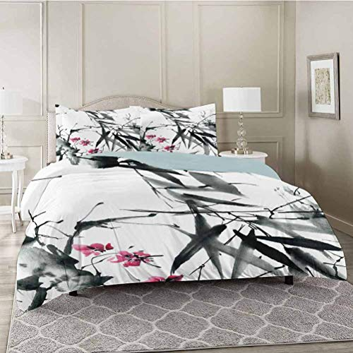 YUAZHOQI 3 Pieces Duvet Cover Set, Natural Sacred Bamboo Stems Cherry Blossom Japanese Inspired Folk Print, Premium Washed Microfiber Comforter Cover and 2 Pillow Shams, King Size