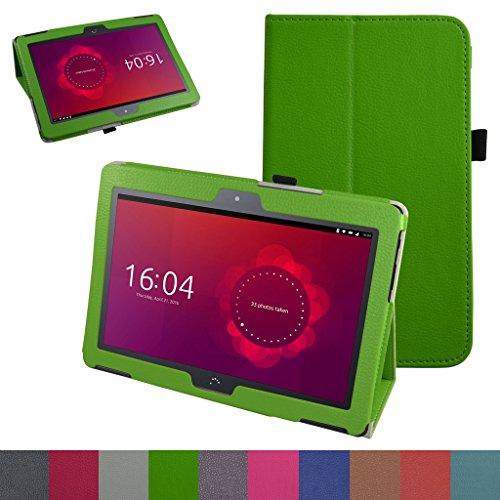 MAMA MOUTH bq Aquaris M10 Funda, Slim PU Cuero con Soporte Funda Caso Case para 10.1' bq Aquaris M10 FullHD FHD HD/Aquaris M10 Ubuntu Edition Android Tablet,Verde