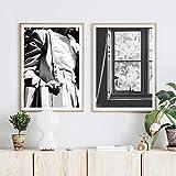 adgkitb canvas Óleo en Blanco y Negro Lienzo Arte de la Pared Ventana de Flores Imagen Decorativa Decoración Moderna para el hogar 30x45cmx2 SIN Marco