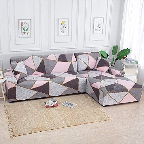 Enhome Funda Sofá Elastica Universal, 1 2 3 4 Plazas Extensible Estampado Forro de Sofá Antideslizante Cubierta Sofá Cubre de Sofá Protector para Muebles y Mascotas (Triángulo Rosa,4 Plazas)