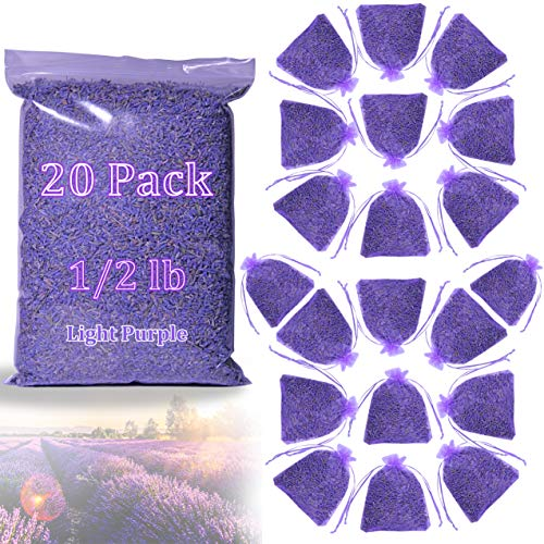 Warm Family French Lavender Sachets 20 Large Fresh Scents Dried Moth Away Lavender Sachet Bags for Drawers Closets & Dressers (Light Purple 0.5 lb)