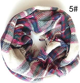 WUNONG-AU Imitation Cashmere Fashion Colorful Plaid Keep Warm Scarf Korean Version Lattice Neckerchief (Color : Pink, Size : (87x2) x48cm)