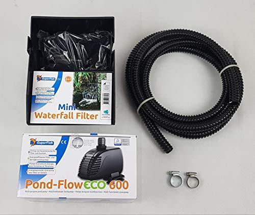 Mini Wasserfall Set inkl. Pond-Flow 600 Pumpe, 5m Schlauch und 2 Schellen