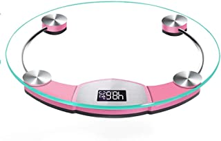 YQSHYP Weight Scale, Round Digital Body Weight Bathroom Scale Slim 17mm Design, Easy Read Display,Explosion-proof Tempered Glass, Step-On Technology, Electronic Precisionded (Color : Pink)