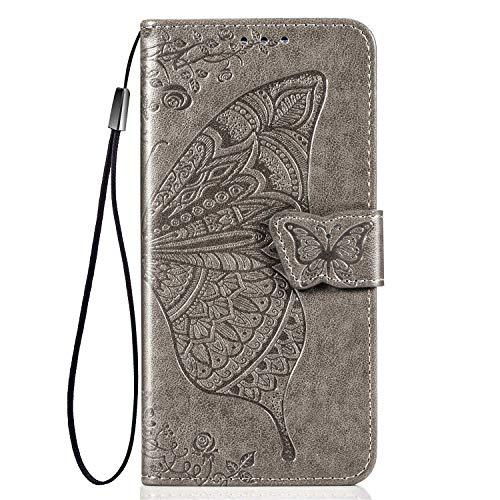 TANYO Schmetterling Flip Folio Hülle für ZTE Blade V2020, Schutzhülle PU/TPU Leder Klapptasche Handytasche mit Kartenfächer, Handyhülle - Grau