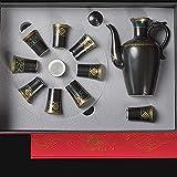 LUYIYI Set di Vino in Ceramica, Vetro da Vino Cinese Antico in Tre Pezzi, 1 Vaso, 1 Vassoio, 10 Tazze