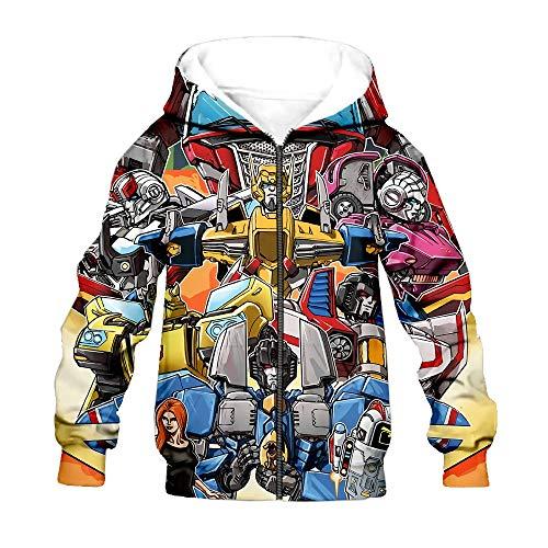 Transformers Pullover Pura Capa del algodón 3D de impresión a Color de Moda Sudaderas con Capucha de la Chaqueta Personalizar Ocio niños y niñas (Color : A01, Size : Height-110cm(Tag 110))