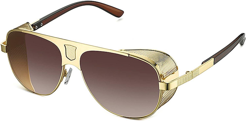 SHEEN KELLY Gafas de sol Steampunk ovaladas vintage Retro con marco de metal con protección lateral para hombres y mujeres