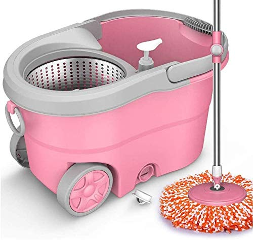 LBWARMB Trapeadores Bucket de MOP, 360 ° Fácil de Limpiar Frifet Microfiber Spinning MOP Kit de Limpieza para el hogar para Pisos de Madera y Azulejos para la Limpieza del Piso