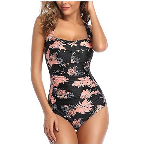 IHEHUA Bikinis Damen Bademode mit Gepolsterter Mode Sexy Swimwear Einteilige Große Größen Neckholder Bandeau Sport Strand Badeanzüge Swimsuit Beachwear(Orange,XXL)