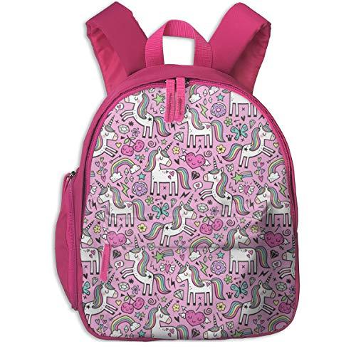 Kinderrucksack mädchen,Einhorn U0026 Pink Hearts Regenbogen Love Valentine Doodle auf Magenta Pink Smaller_2274 - caja_Design, Für Kinderschulen Oxfordstoff (pink)