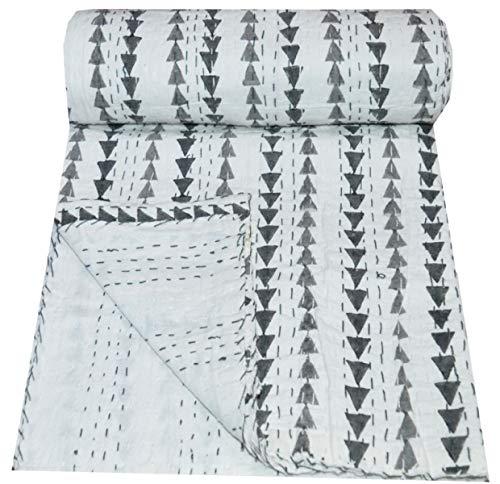 Yuvancrafts - Colcha para cama individual (algodón puro, hecha a mano), diseño de flores