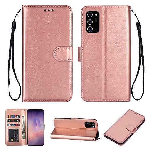 Funda para Galaxy Note 20, Samsung Note 20 Ultra Wallet Bumper Cover con ranuras para tarjetas, [protección para cámara] correa de muñeca PU+TPU funda de piel con tapa (oro rosa, Note 20 Pro)