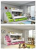 Etagenbett MAX 3 (für DREI Kinder) 200x80cm und 200x120cm Farbe: weiβ, grau, lila, rosa, grün oder blau. mit Latten und Matratzen DIREKT VOM PRODUZENTEN (grau) - 5