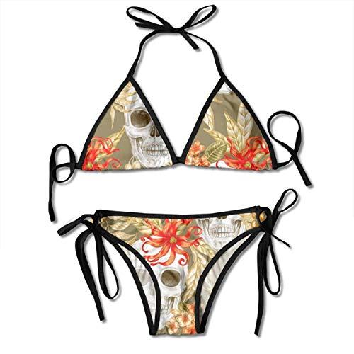 FUGVO Halloween Skull Mexikanischer Stil Skelett Blumen Bikini Set Strandbadebekleidung Zweiteiliger Bikini Badeanzug für Frauen Mädchen Beachwear Schwarz