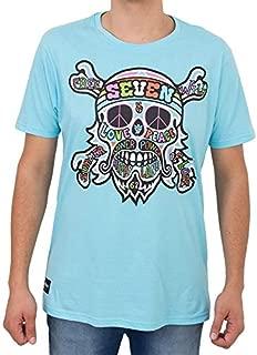 Camiseta Seven Brand Caveira Hippy Azul