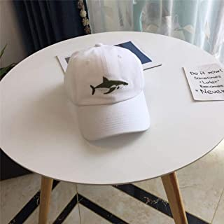 Hats Both for Men and Women, Sun Hat, Embroidery Washed Cotton Baseball Cap, Fashion (Color : White, Size : F/54-58cm)