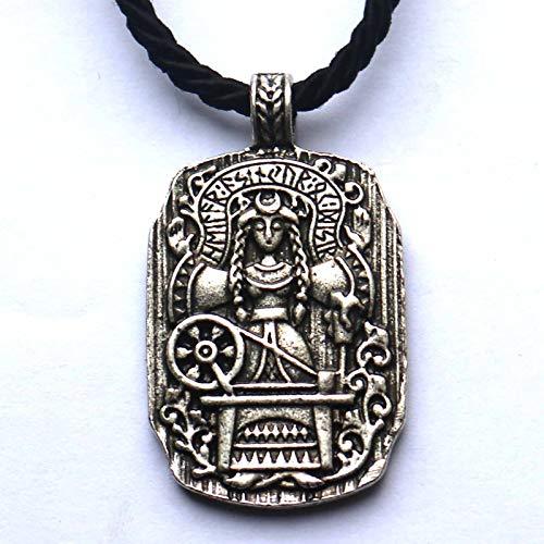 HHW Göttin des Schicksals Wikinger Runen Runen Amulett Hexenkompass Anhänger Halskette Wicca Hexerei Damen Schmuck Zubehör,Silber