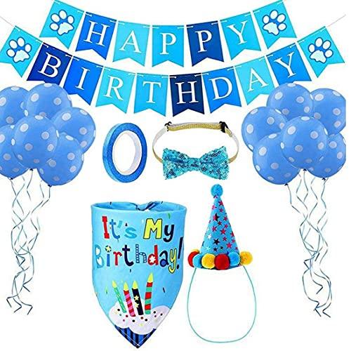 NIDONE Cumpleaños de Perro Bandana Sombrero Set Cumpleaños Perro Sombrero Sombrero Pajarita Banner Balloon Perro Primera Fiesta Fiesta Fiesta Decoraciones Azul