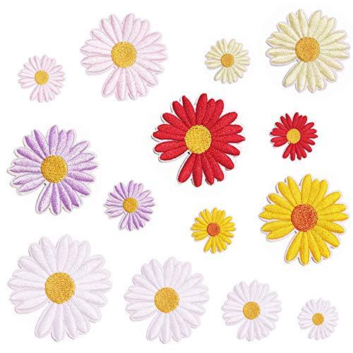 Nuluxi Aufbügelbilder Blumen Patches Aufnähen Aufnäher Aufbügelbilder Nadelarbeiten Aufbügeln Patches Kleidung Applikation Patches Flicken Geeignet für T-Shirt Jeans Taschen Schuhe und Hüte (24 Stück)