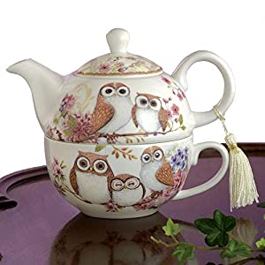 Bits and Pieces - Tea For One Owls Porcelain Teapot and Cup - Adorable Owl Design