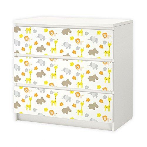 Nikima 010 - Lámina adhesiva para muebles IKEA MALM – Jirafa elefante león – 3 cajones Pegatinas adhesivo adhesivo (muebles no incluidos)
