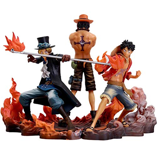 HenTuha One Piece Anime Figure Luffy Ace Sabo Statue Figure Anime Statue Doll Sculpture Toy Realistic Character Model Ornaments Cartoon Figure Character Model Toy