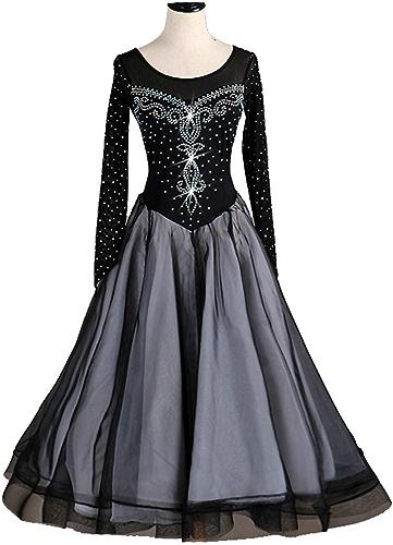 Robes de Danse Nationales Simples pour Femmes Couture Maille à Manches Longues Foxtrouge Tango Jupe avec Doubleure Blanche Retour La Perspective Robe Valse Perforhommece