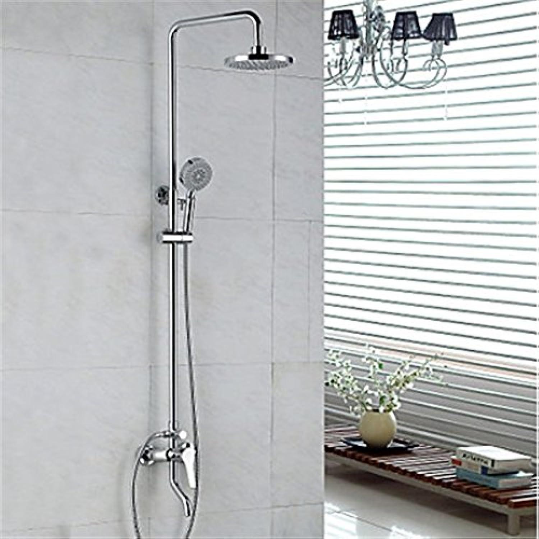 YFF Erstklassige moderne Dusche System Regendusche Handdusche mit Keramik Ventil einzigen Griff zwei Bohrungen für Chrome, dusche Wasserhahn im Lieferumfang enthalten