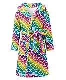 Funnycokid Mädchen Bademantel Kinder Pyjama Kinder Nachthemd Flanell Langarm Druck Grafik Nachtwäsche 4-12 Jahre