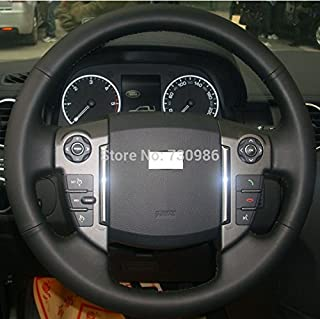 JI Hand Sewing Black Genuine Leather Steering Wheel Cover for 2010 2011 2012 2013 2014 2015 2016 Land Rover LR4,LR4 Accessories