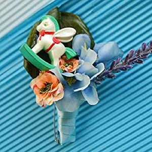 Artificial and Dried Flower Boutonniere Branches Mix Colors Corsage Pin Groom Anemone Groomsman Party Prom Wedding Flowers Wedding Rose