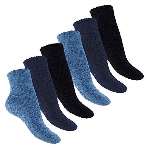 Footstar Damen und Herren Plüschsocken (6 Paar), Warme Kuschel Socken - Jeans 35-38