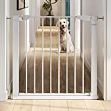 Graco, BabySteps WalkThru Metal Safety Gate Secure PressureMounted Baby Gate for Doorway Expands from 29.540.5' 29.5' Tall Includes 3 Extensions Perfect for Children PetFriendly, White