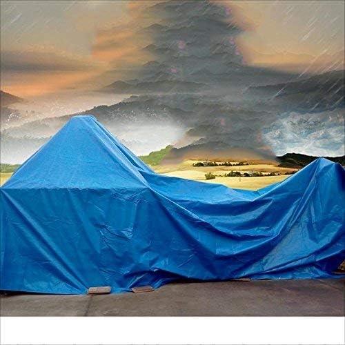 YUMUO Bâche étanche enveloppé de Toile tannée légère et Facile àpliez la Couverture extérieure 2m ~ 10m Bleu (Taille: 4m x 4m) 13