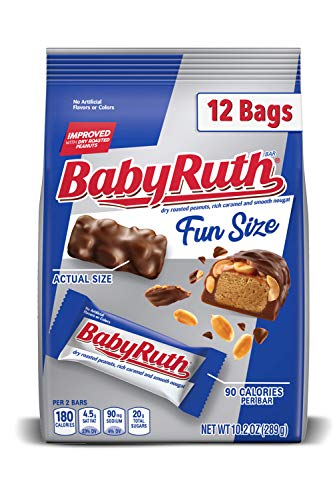Baby Ruth Fun Size Milk Chocolate-y Candy Bars, Individually Wrapped Ferrero Candy, Perfect Easter Egg Basket Stuffers, 10.2 Ounce Bag (Pack of 12)