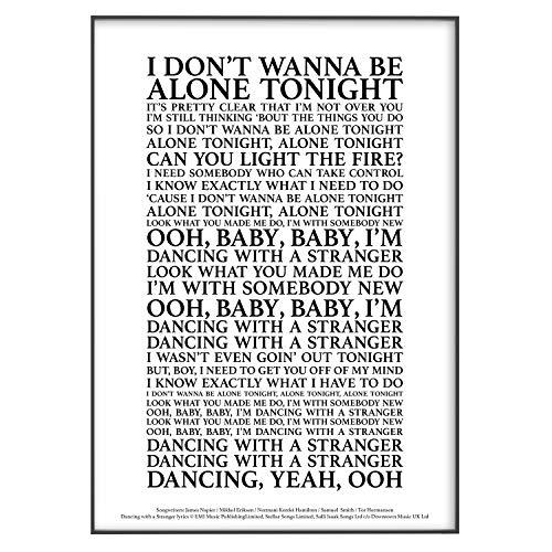 """Poster mit Songtext """"Dancing With A Stranger"""", offizielles Lizenzprodukt, A3, 42 x 29,7 cm, Schwarz"""